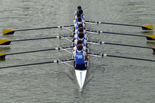 Rowers in boat