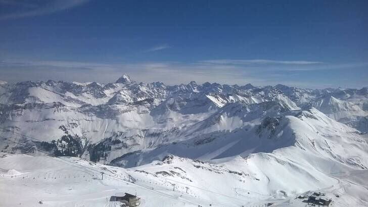 Panorama of the Alps with mountains covered with snow